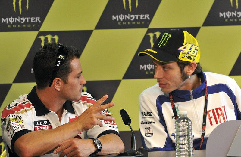 Randy de Puniet (LCR Honda) e Valentino Rossi (Fiat Yamaha) alla conferenza stampa della presentazione del GP di Francia