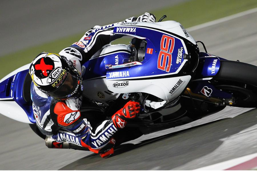 Jorge Lorenzo in action, pole in Doha (MotoGP 2012)