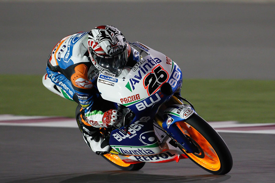 Maverick Viñales, in action, best time in FP2 at Doha (Moto3 2012)