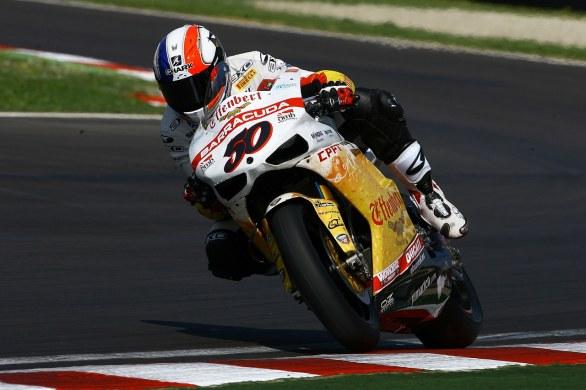 Sylvain Guintoli, Effenbert Liberty Racing, leader del primo turno di qualifiche ad Assen