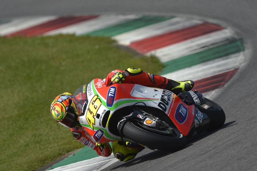 Valentino Rossi, durante i test al Mugello di maggio 2012