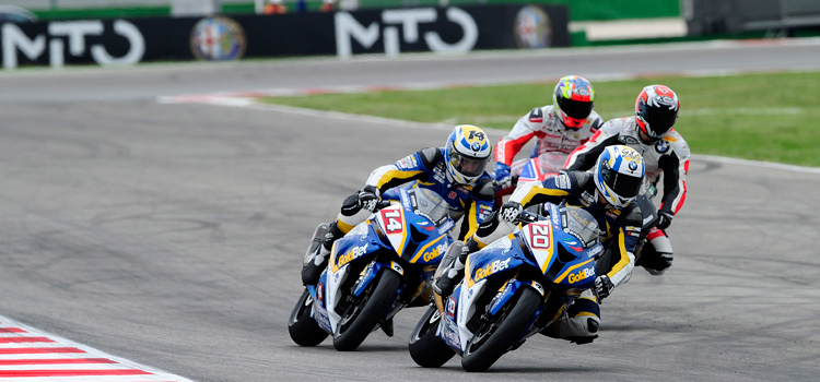 Sylvain Barrier (BMW Motorrad Italia GoldBet), vince a Misano, dove il podio è tutto BMW (Superstock 1000, 2012)