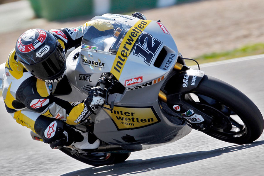 Thomas Luthi (Interwetten-Paddock), leader in Catalunya FP1, Moto2 - 2012